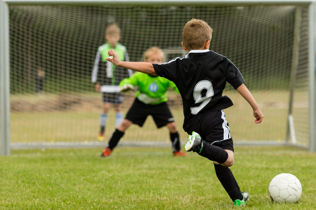 Kids soccer penalty kick